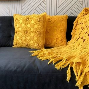 Set of Two Yellow Crochet Pillows